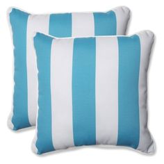 Pillow Perfect Outdoor/ Indoor Cabana Stripe Turquoise 18.5-inch Throw Pillow (Set of 2), Blue