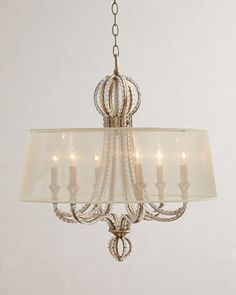"Crystal+Beaded+6-Light+Shaded+Chandelier+at+Horchow. 25"" $995"