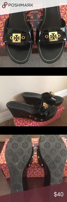 Tory Burch Rosie Black patent wedge shoes 8.5 Tory Burch black patent wedge size 8.5 retail was $225.00 asking $40.00 (scuff/rip on back of one heel see picture for details-otherwise great condition Tory Burch Shoes Wedges
