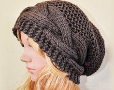 Slouchy beanie hat with button  TAUPE or chose by BeanieVille