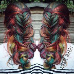 Romantic messy braid with rainbow color design by Samuel Burley of the U.K. #hotonbeauty HOT Beauty Magazine facebook.com/hotbeautymagazine