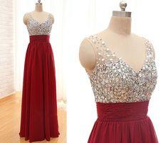 DIYouth.me Burgundy Long Spaghetti straps BacklessBeaded Prom Dress,Burgundy Prom Dress,Burgundy Long Prom Dress, custom prom dress,custom color prom dress,Evening Dress/