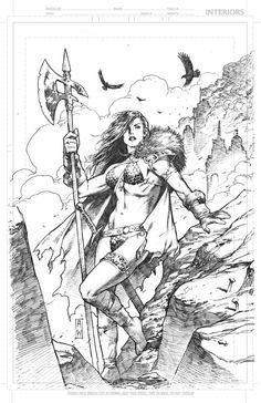 Red Sonja Sketch by Admira Wijaya Black And White Comics, Black And White Artwork, Red Sonja, Comic Artist, Artist Art, Fantasy Character Design, Character Art, Character Illustration, Illustration Art