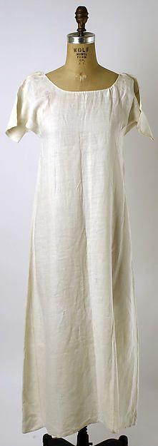 Chemise Date: 1780–1800 Culture: American Medium: linen Dimensions: Length at CB: 42 1/2 in. (108 cm)