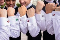 groomsmen with super hero cufflinks