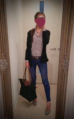 Striped shirt, blue jeans, black sweater, black bag and gray heels - http://ameblo.jp/nyprtkifml