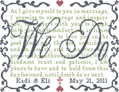 Counted Cross Stitch Pattern We Do with by oneofakindbabydesign, $6.95 wedding sayings