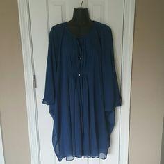 Diane Von Furstenberg Batwing Silk Dress Beautiful Sapphire blue Diane Von Furstenberg dress. This dress is so beautiful. Filmy batwing sleeved silk overlay. Tied neckline. Fully lined. Size 6. Excellent condition. Diane von Furstenberg Dresses