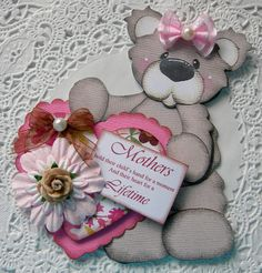 Handmade Mothers Day Bear Embellishment by sarasscrappin on Etsy, via Etsy.