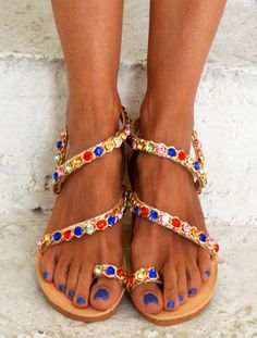 Luxurious Sandals/ Bridal Sandals/ Greek Genuine by magosisters