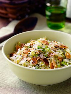 Trisha Yearwood's Crunchy Slaw:  Another variation on a family favorite. Her recipes are good 'ole family, southern, cooking.  :-)