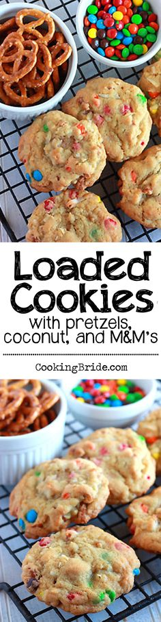 Salty pretzels, chewy coconut, and sweet M&M's give these loaded cookies an abundance of tastes and textures.
