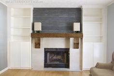 Fireplace Makeover Rustic Mantel Billy Bookcase Built In