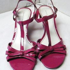 "NEW Pink Wedge 3"" Heel Strappy Sandal Shoes Size 9 NEW WITHOUT THE BOX VERY CUTE! WOMENS PREDICTIONS FUSIA (DARK PINK) DRESSY STRAP SANDAL 3"" WEDGE HEEL. THE SHOES ARE PATENT LEATHER WITH OUTER ANKLE ADJUSTABLE STRAP WITH BUCKLE IN SILVER TONE. From a clean, smoke-free home No rips, tears,or stains, or weird smells Predictions Shoes Wedges"