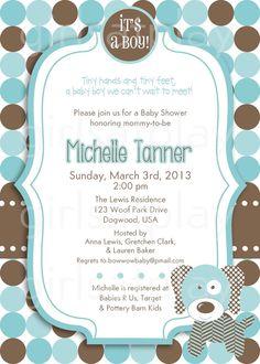 Baby Shower Boy Invitation Puppy Dog Blue Brown by girlsatplay, $12.00