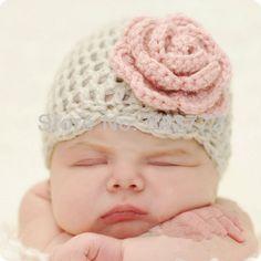 gratis verzending schattige roze fiower dinosaurus stijl met de hand gehaakt babymutsje fotografie rekwisieten pasgeboren baby cap