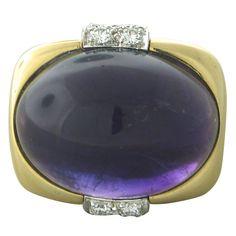 1stdibs | David Webb Diamond Amethyst Gold Platinum Ring