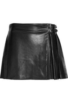 McQ|Pleated leather mini kilt|NET-A-PORTER.COM - StyleSays