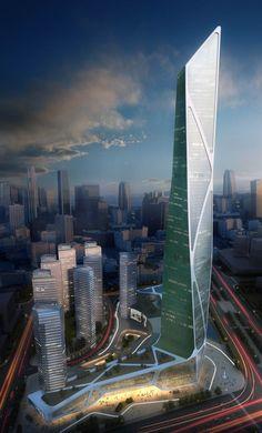 Jason Holtzman Design / Nanjing-South New City Southern Railway Station-2013-(450 meter tower option)