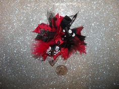 Funky Black Red Hair Bow