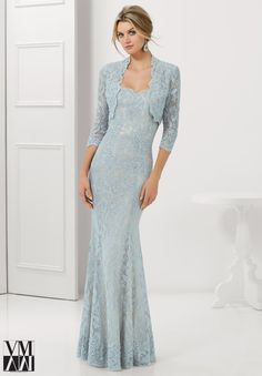 Elegant MOB Gown with bolero - Dress for evening ware, cocktail dresses or social occasions by VM Collection Stretch Lace with Beaded Appliques and Edging Matching Bolero Jacket. Available in Navy/Nude, Black/Nude, Silver/Nude, Taupe.