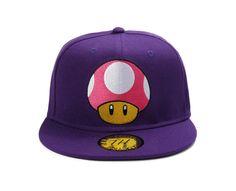 a0a12362622 True Heads Super Mario Mushroom Toad Purple Snapback Baseball Cap