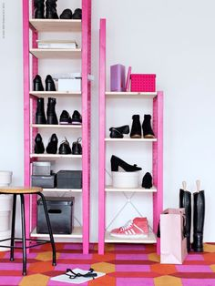 Plain wooden IKEA, spraypaint gold, put in Ladies' Parlor (this is a note to myself, p.- -I don't even know if these are IKEA). Pink Shelves, Ikea Shelves, Ikea Storage, Shoe Storage, Shoe Racks, Wood Shelves, Garage Shelving, Storage Rack, Storage Boxes