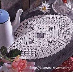 Delicadezas en crochet Gabriela: Camino oval con corazones