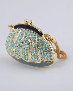 Golden Blue Handbag Enamel Painted Trinket Box Decorated with Austrian Crystals