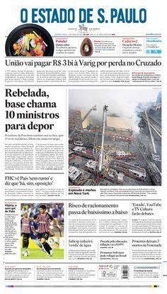 Capa de hoje: Rebelada, base chama 10 ministros para depor http://oesta.do/1iCE71u