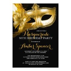 449 best masquerade birthday party invitations images on pinterest gold mask masquerade 50th birthday party card filmwisefo
