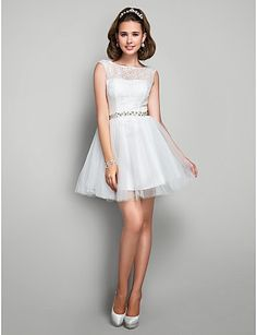 A-line Princess Jewel Short/Mini Crystal Detailing Lace And Tulle Cocktail/Prom Dress – ILS ₪ 15 Dresses, Pretty Dresses, Dresses Online, Evening Dresses, Flower Girl Dresses, Formal Dresses, Tulle, Cocktail Vestidos, Cocktail Dress Prom