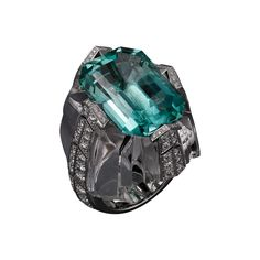 Cartier Royal ring, platinum, one 19.02 carat emerald-cut tourmaline, rock crystal, brilliant-cut diamonds.