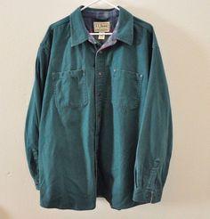 L.L. Bean Green Flannel Lined Canvas Shirt Jacket Mens Size XXL 2XL 100% Cotton #LLBean #SnapFront