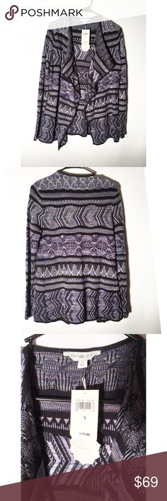 ✨NWT Lucky lotus lucky brand open cardigan Brand new! This cardigan is so beautiful! Size small! Gorgeous purple/blue Aztec design! Please make an offer I always counter or accept! Lucky Brand Sweaters Cardigans