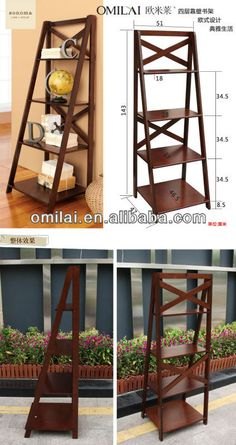 chinese modern wood ladder bookshelf $0~$29