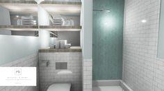 Subway tile & herringbone design bathroom by MiD Interior Design And Graphic Design, Design Bathroom, 3d Rendering, Subway Tile, Herringbone, Mirror, Furniture, Home Decor, Decoration Home