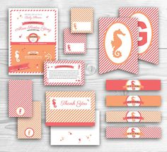 #Seahorse #BabyShower Theme - This pink and coral themed baby shower package includes Invitation, Additional Information Card, Folded Table Tent Cards, Water Bottle Labels, Banner, Folded Snack Bag Tops and a Thank You Card - by rpdesignandphoto, $50.00