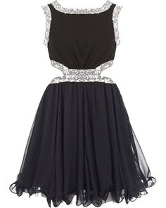 Side Sparkler Dress: Features a gathered chiffon bodice bordered with sparkling sequin trim, sexy side cutouts surrounded by a glittering dual-sided waistband, twirl-worthy chiffon skirt with an A-line silhouette, and a centered rear zip closure to finish.