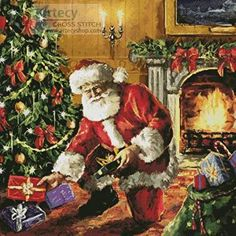 Presents Under the Tree - Christmas cross stitch pattern designed by Tereena Clarke. Category: Santa.