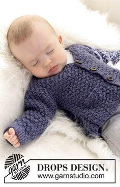 """Cute little man cardi! Gebreid DROPS vest in gerstekorrel van """"Merino Extra Fine"""". ~ DROPS Design:"""