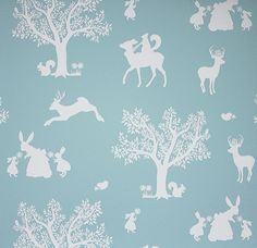Enchanted Wood Wallpaper A delightful children's wallpaper depicting a fantasy woodland scene in silhouettes of white on duck egg blue.