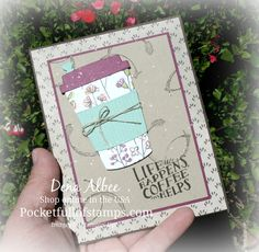 Stampin' Up! Coffee Cafe - Today I combined a little old with a little new...I used the returning Coffee Cafe stamp set and coordinating Coffee Cups framelits with the soon-to-be-released GORGEOUS Share What You Love Specialty DSP. LOVE! <3