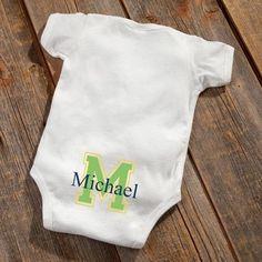 Personalized Baby Botty Onesie - Baby Boy Initial Design