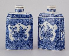 Two Delft tea caddies, marked A.D.V., 1725-1750 height: 15,1 cm width: 9,3