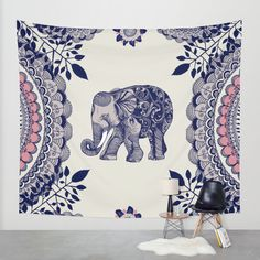 Elephant Pink Wall Tapestry by Rskinner1122 | Society6