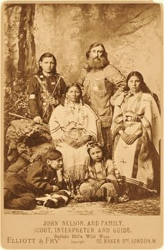Cabinet Card of John Y Nelson, well known Scout, Interpreter and Guide pictured with his Family.