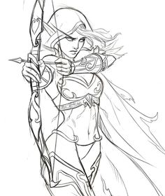 Sylvanas by iara-art on DeviantArt Pencil Art Drawings, Art Drawings Sketches, Fantasy Kunst, Fantasy Art, Poses References, Drawing Reference Poses, Drawing Base, Art Graphique, Character Drawing