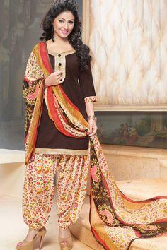 Brown & Multi Unstitch Cotton Patiala Suit
