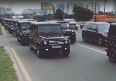 Show of strength: Newly graduated FSB agents form a cortege of black Mercedes Gelandewagens in Russia Graduation Photos, G Wagon, Moscow, Spy, Russia, Blood, Strength, Faces, Lifestyle